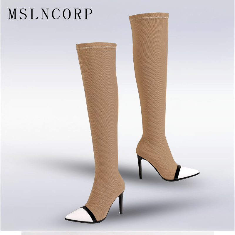 Size 34-44 Genuine Leather Women Boots Stretch Fabric Slim Thigh High Boots Fashion Sexy Over the Knee Boots High Heels Shoes