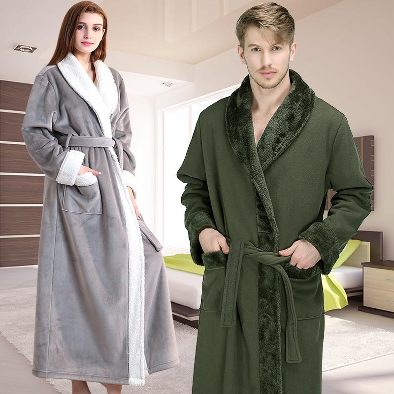Men Winter Extra Long Thick Warm Flannel Fleece Bathrobe Mens Luxury Kimono Bath Robe Women Sexy