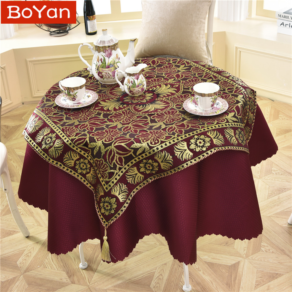 Table & Sofa Linens Latest 2 Pcs/set Round 140cm Luxury Sequin Outdoor Table Linens Fashion Crochet Jacquard Red Wine Garden Tablecloth Decoration With A Long Standing Reputation Tablecloths