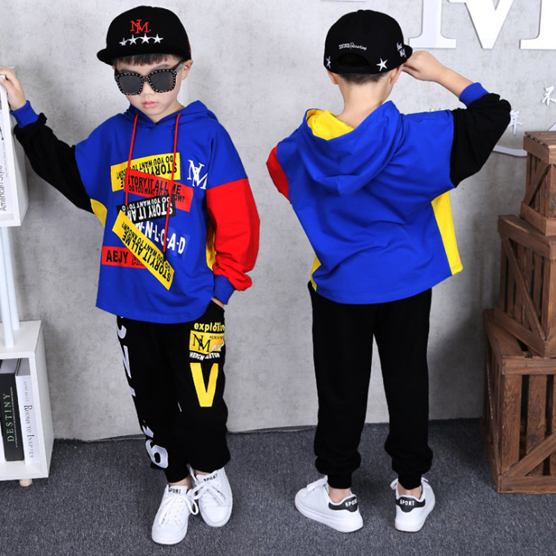 Image 3 - Autumn Boys Clothing suit 2 pieces suit hooded + Pants Sets big Boys Sportwear Sets Tracksuit Outwear hoodie 6 8 10 12 14 YearsClothing Sets   -