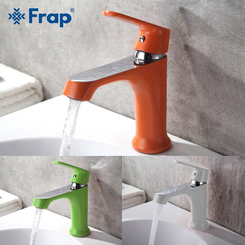 Robinets de bassin FRAP innovant accueil Multi couleur mitigeur de bassin de bain robinets d'eau froide et chaude vert Orange blanc robinets de salle de bain