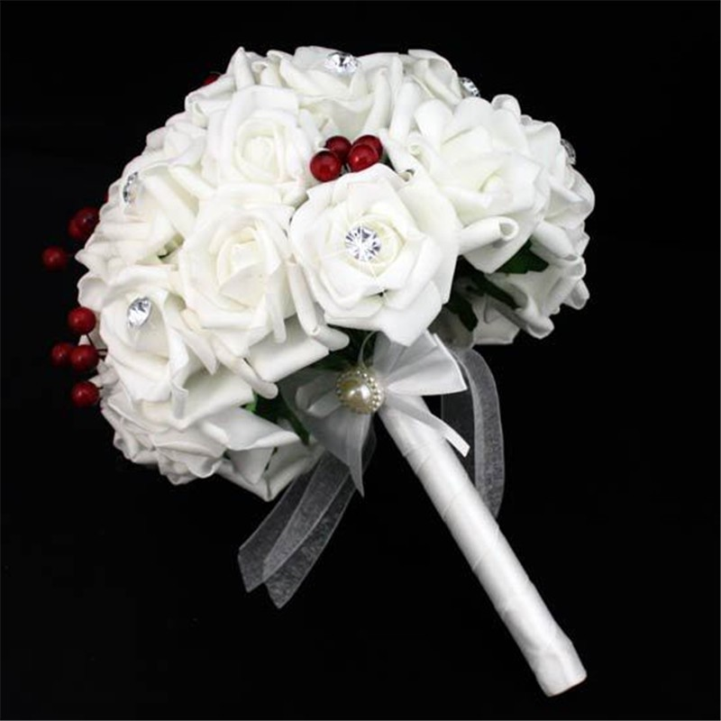 Artificial Cherry Decoration Bridesmaid Flower Wedding Bouquet Artificial Buquet de noivas Handmade Rose Crystal Bridal Bouquet  (1)