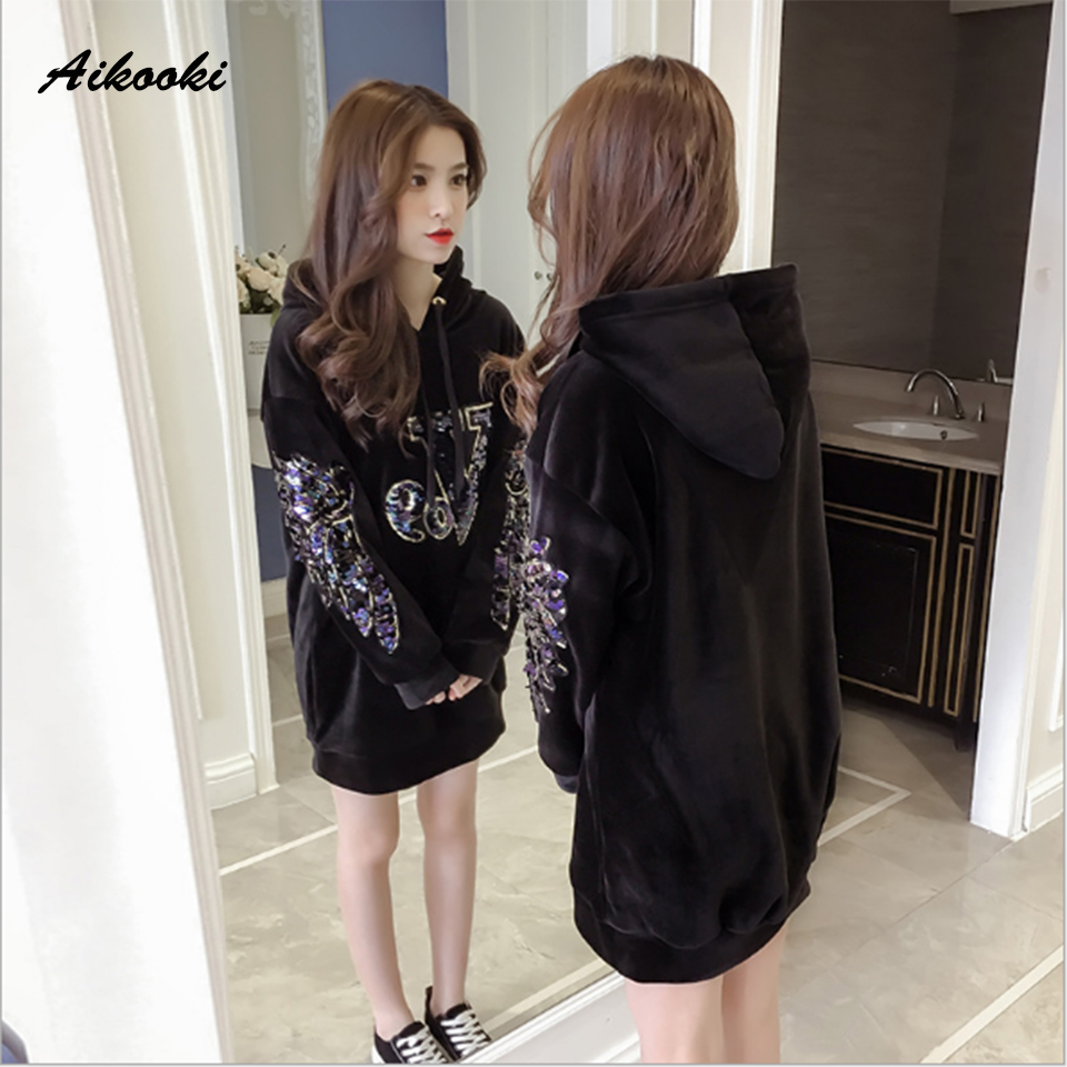 Aikooki Women Velvet Hoodies Sweatshirt Ladies Long Sleeve Winter Warm Casual Sequined Velvet Pullover Harajuku Hoodie Clothes
