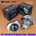 Стайлинга автомобилей Автомобилей Full Metal Q5 3.0 дюймов HID Би ксенон Объектив Проектора + Smax Кожухи Маска, использование D2S D2H Лампы