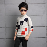 high neck big boys sweaters winter 2017 plaid long sleeve knit tops children school autumn sweater baby boys clothing 4 5 6 8 Y