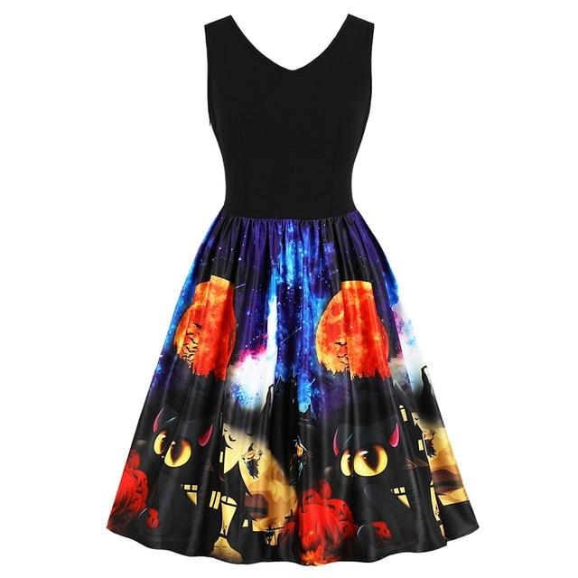 030fc2bf56 Wipalo Halloween rocznika dyni i Bat drukowane Pin Up sukienka bez rękawów  V Neck kolano długość