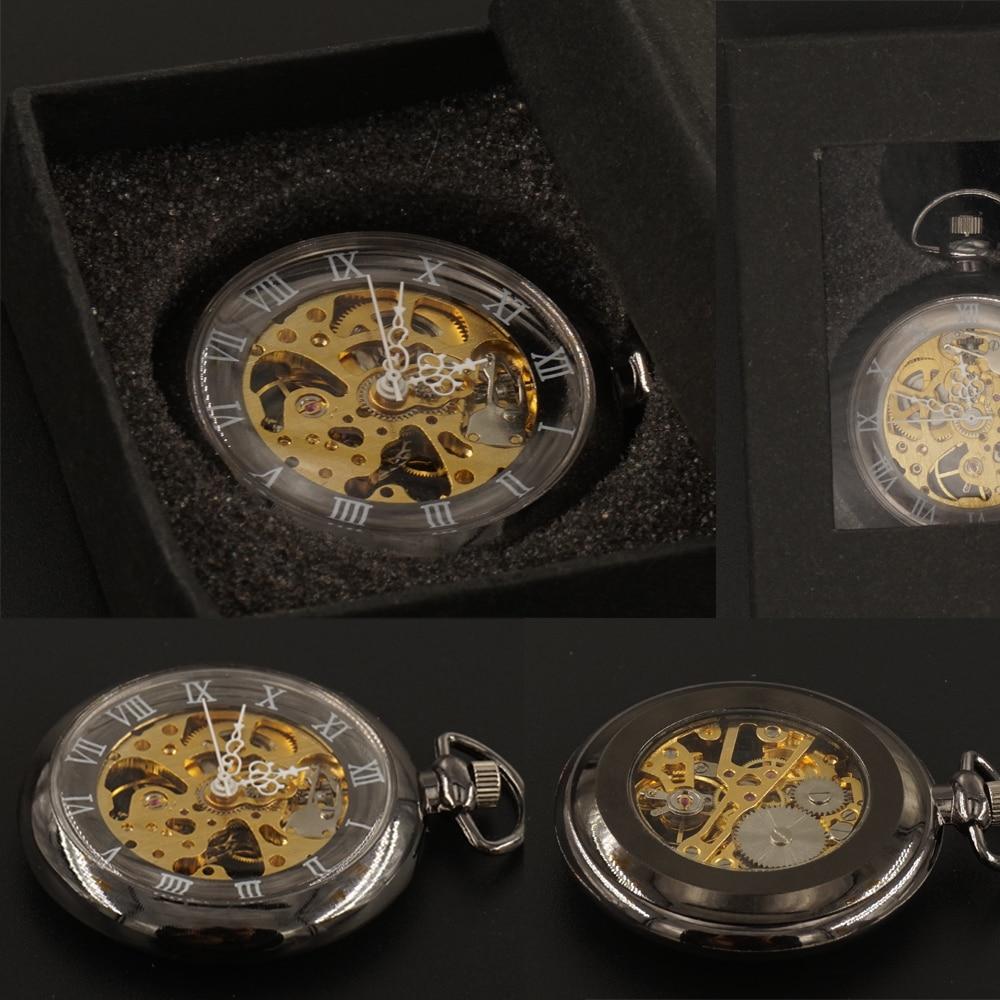 Chiffres romains noirs mécanique montres de poche FOB chaîne avec boîte cadeau main vent en verre mens Steampunk 2017 livraison gratuite
