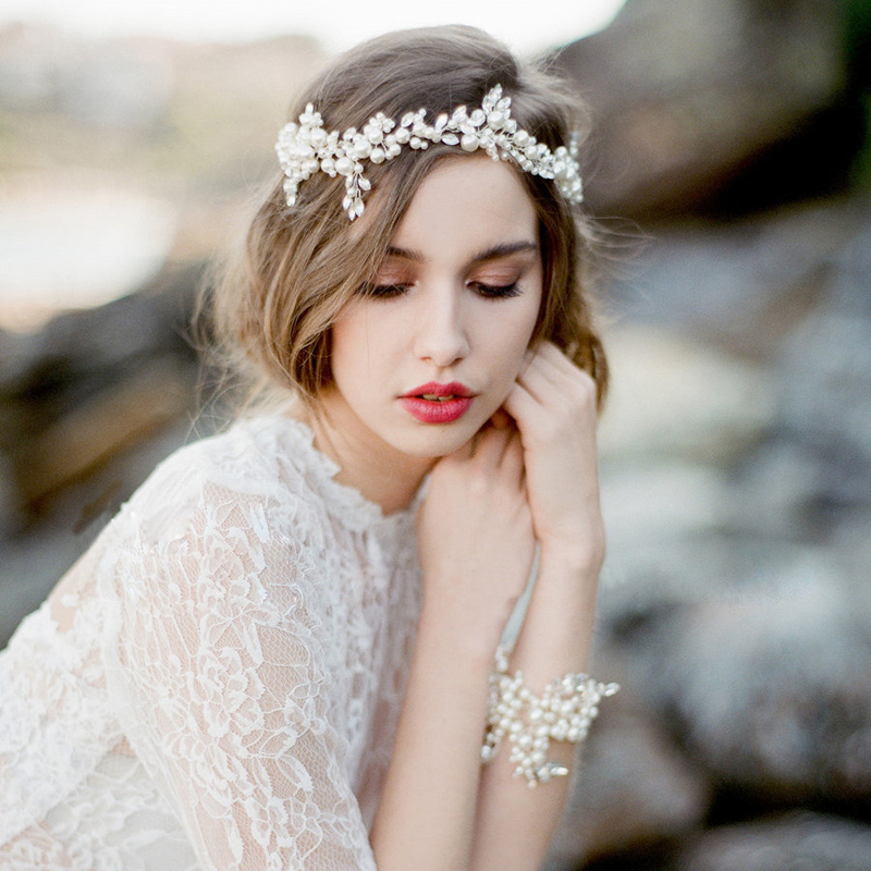 Bridal Flash Rhinestone Crystal Headband Ladies Imitation Pearls Hand woven High end Married font b Accessories