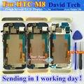 Pantalla lcd + asamblea de pantalla táctil de cristal digitalizador para htc one m8 teléfono móvil 5.0 pulgadas oro plata gris con marco de herramientas gratuitas