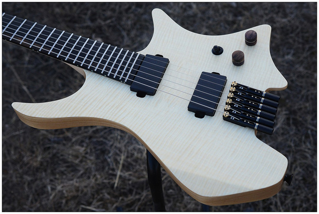 2019 NK Headless, Fanned Frets, clear Flame Maple top, Flame maple Neck, Ebony fingerboard, Black hardware  1