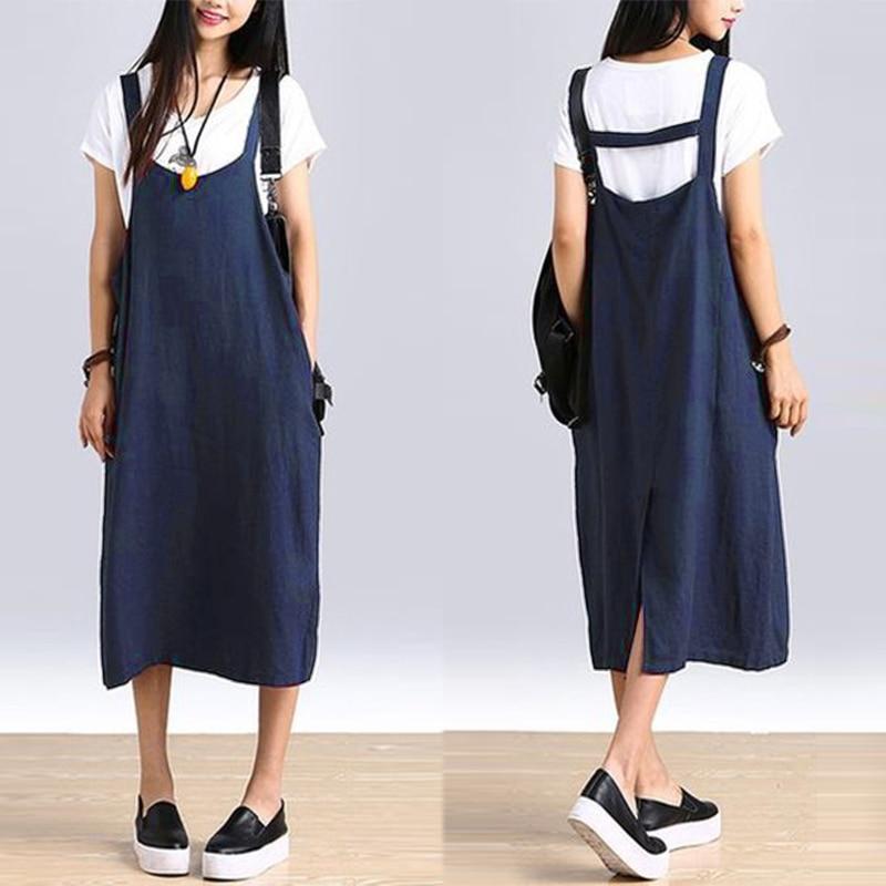 Vintage Strap Dress ZANZEA 2019 Women's Baggy Sundress Female Mid Calf Vestido Plus Size Split Summer Linen Robe Femme Oversized