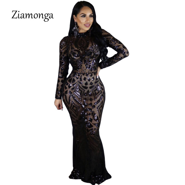 Ziamonga Euramerican Style Sequin Maxi Dress Vestidos Sexy Vintage Round Neck  Long Sleeve Sheath Floor Length Bodycon Club Dress f80383650493