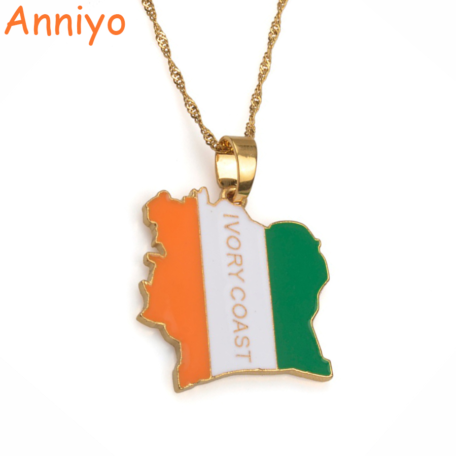 Anniyo(Product Back With Brand Logo)COTE D IVOIRE Map Flag Gold/Silver Color Necklaces I ...