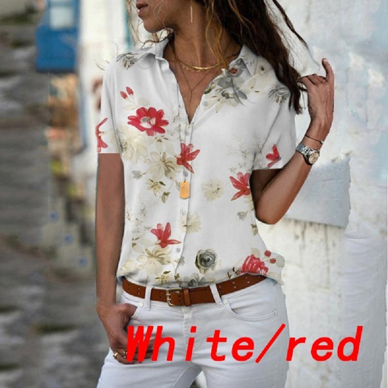 Spring Summer   Blouses   2019 Women   Shirt   Short Sleeve Lapel Chiffon   Blouse   Office Work Elegant Casual   Shirts   Top Plus Size 5XL