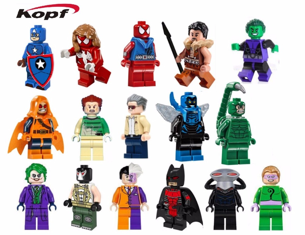 PG8017 8018 Building Blocks Super Heroes Villains Blue Beetle Black Manta Scorpion Captain America Stan Lee Bricks Children Toys pg8017 super heroes avengers movie scorpion sdcc captain america stan lee building blocks model children bricks toy