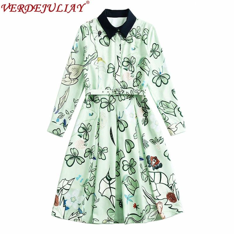 Prairie robes 2019 nouvelle mode femmes fleurs imprimer col rabattu manches complètes offre spéciale Patchwork mince vert clair robe