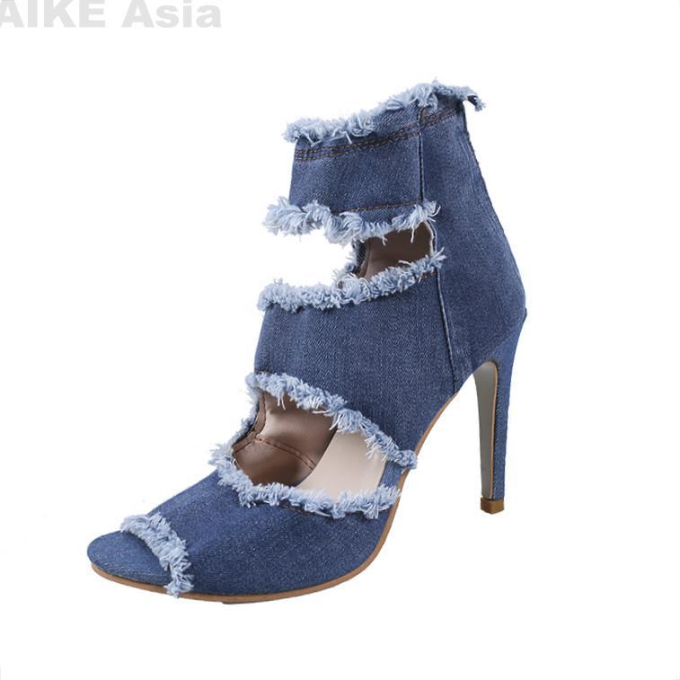 Peep Toe Gladiator Shoes Women Pumps Denim High Heels Cutout Stiletto Zip Thin Heels Party Shoes Blue Super High N35