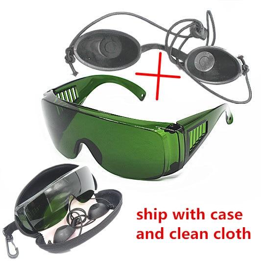 Óculos protetores opt/e light/ipl/photon, óculos preto de segurança para boneca, óculos de proteção a laser vermelho 340-1250nm de largura absorção de absorção