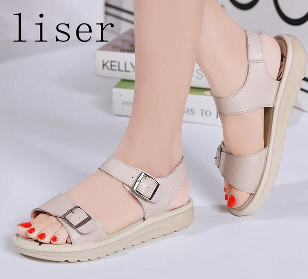 liser Gladiator Platform Sandals Shoes Women Summer Buckle Sandals Genuine  Leather Female Footwear Flat Shoes Beach Sandals New -in Women s Sandals  from ... f2a0913744d1