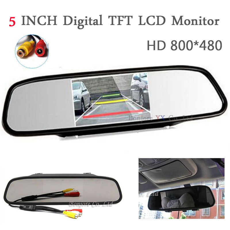 Hight Resolution 5 inch TFT LCD Car TFT LCD Monitor Mirror Display RCA Input 2 AV Parking system For Car DVD/Rear view camera цена