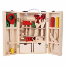 Kids Pretend Play Toys Wood Repair Tools House Wooden Puzzle Children Toy  Toolbox Service Simulation Toolbox Nut
