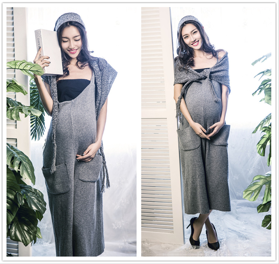 52ba205aec7 RQ Elegant Maternity dress Photography Props Long dress pregnant women clothes  maternity clothing solid color culottes