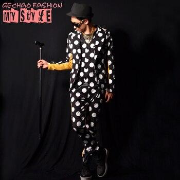 M-6XL!!Nightclub male singer big wave point white dot positive and negative yellow stitching big bar costume costume.