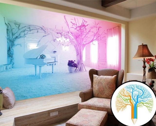 2016 Fantasy Photo Pink Piano Snow Wallpaper Customized Wallpaper ...