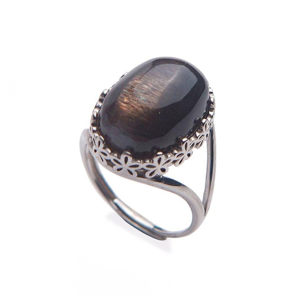 Mode hommes anneaux naturel noir pierre de lune Quartz cristal gemmes pierre anneau charme doigt bijoux anneau réglable 925 argent