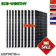 ECO-WORTHY EU Stock 1KW 10pcs 100w Solar Panel 12v monocrystalline Solar Panels for 12v Battery off Grid System 1000W