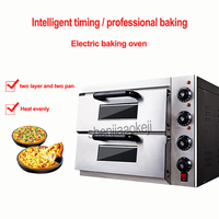40L Commercial thermometer Electric double pizza oven/mini baking oven/bread/cake toaster hot Plate Oven 0 60min timing 220v 3kw