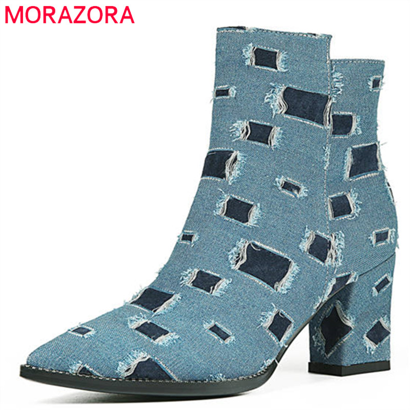 MORAZORA 2018 top quality ankle boots for women pointed toe autumn winter boots simple zip mixed colors high heels shoes woman 2024inch universal wheels luggage abs mute rolling travel bag password lock trolley suitcase colorful hand pull box