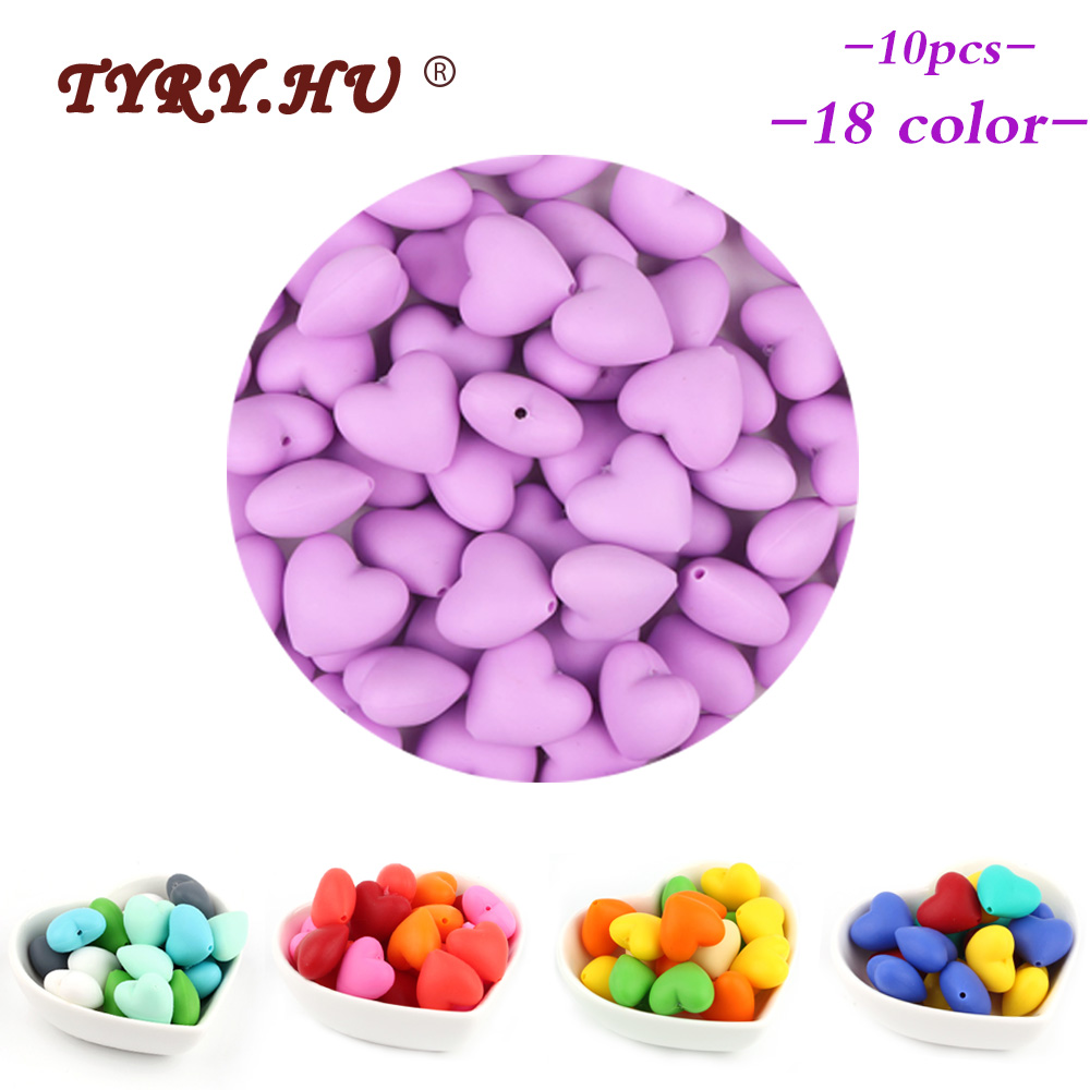 TYRY.HU 10pcs Food Grade Heart Silicone Beads Teether Necklace BPA Free Baby Teething Toys DIY Pacifier Chain Nursing And Gifts