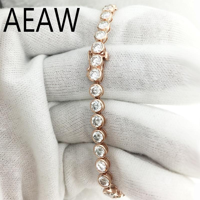AEAW Belle 11ctw Solide 14Kt Blanc Or DF Moissanite Lab Noces de Diamant Lunette Bracelet pour les Femmes D'anniversaire Fine Jewelry Cadeau