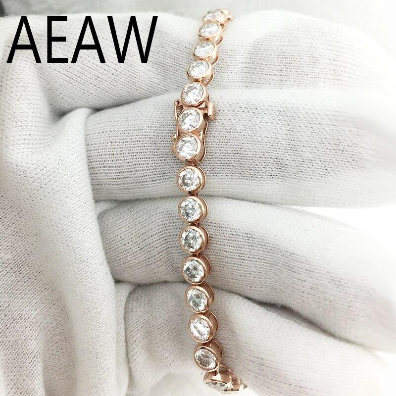 AEAW Lovely 11ctw Solid 14Kt White Gold DF Moissanite Lab Diamond Wedding Bezel Bracelet for Women Birthday Fine Jewelry Gift