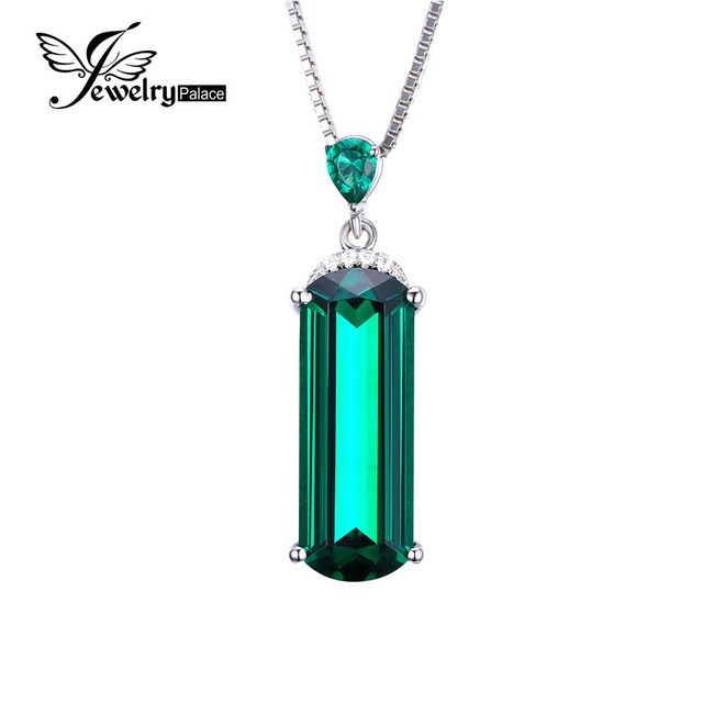 JewelryPalace Women's Emerald Cut 4.29ct Green Nano Russian Simulated Emerald Solid 925 Sterling Silver Pendant Necklace 18 dqoUWzEmV