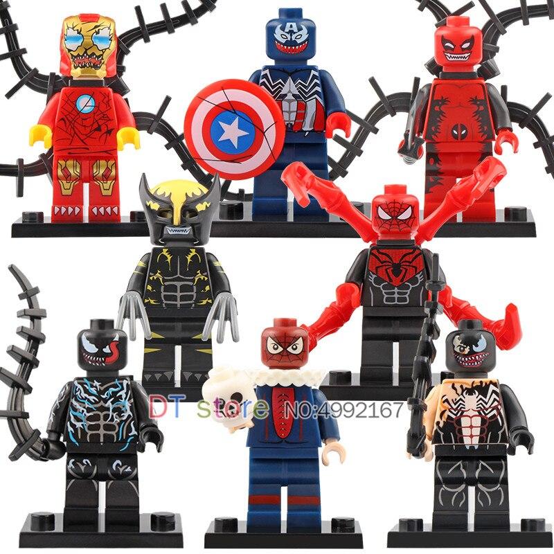 50 Pcs/Lot Legoe figuré Venom Wolverine Deadpool Iron Man capitaine américain Spiderman blocs de construction enfants cadeau jouets WM6044