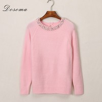 Dosoma Crystal Beads Warm Sweater Round Collor Kitting Wear Pullovers For Women Covered Autumn And Winter