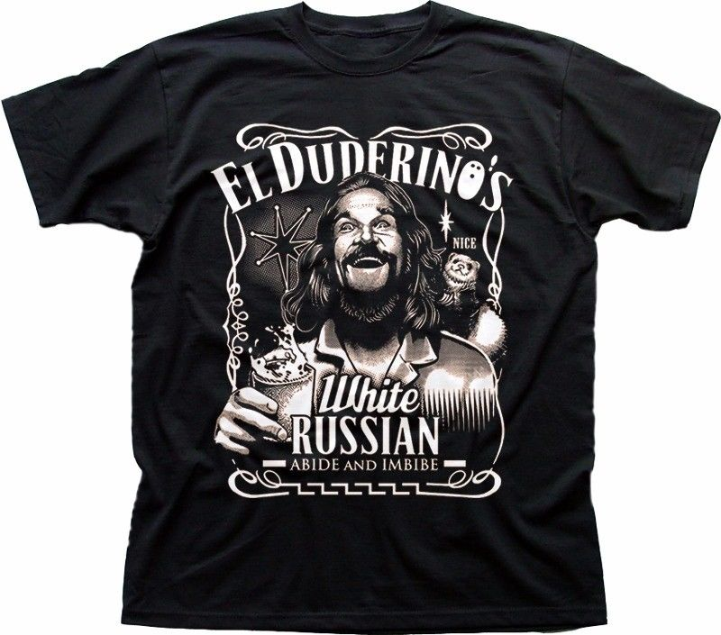 The DUDE <font><b>Big</b></font> Lebowski ABIDE poster Jeff Bridges El Duderino black t-<font><b>shirt</b></font> FN9277Cartoon t <font><b>shirt</b></font> men Unisex New Fashion tshirt image