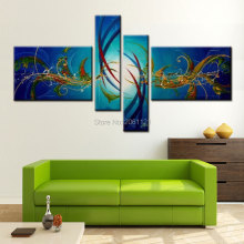 modern abstract wall decoration painting sapphire green blue canvas art hand painted picture living room sets