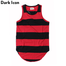 DARK ICON Striped Curved Hem Hip Hop Tank Top Men 2019 Summer Extended Long Line Men's Tank Top 3 Colors rolled cuff curved hem top