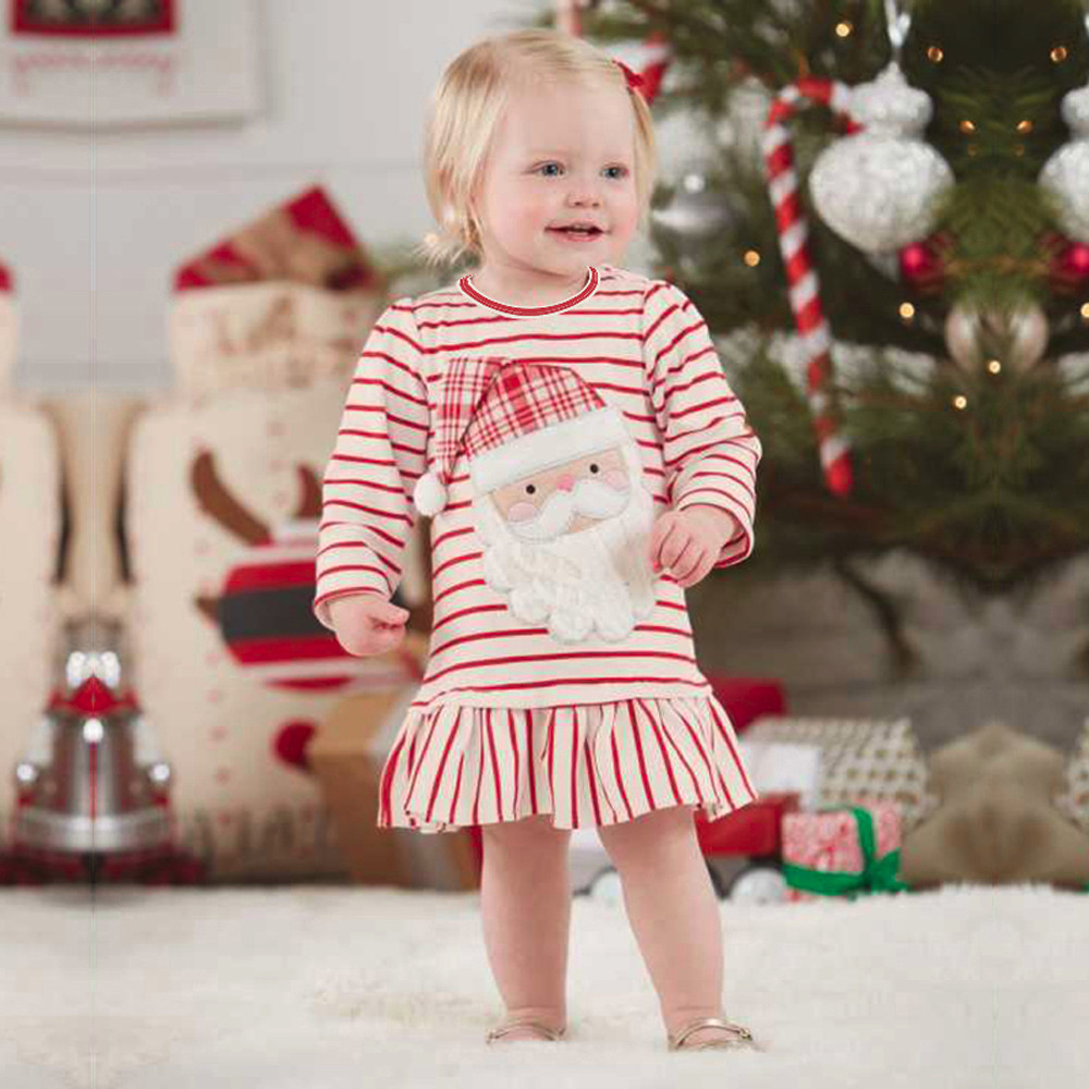 Girls Striped Santa Claus Dress New Year Christmas Dress Autumn Winter Baby Turtleneck Dress Halloween giftVestido YL-NEW christmas candy santa claus snowflake choker dress