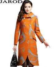 2017 New fashion Women Print Loose Long Woolen Winter Coat Plus Size Blends Warm Temperament Overcoat Jacket