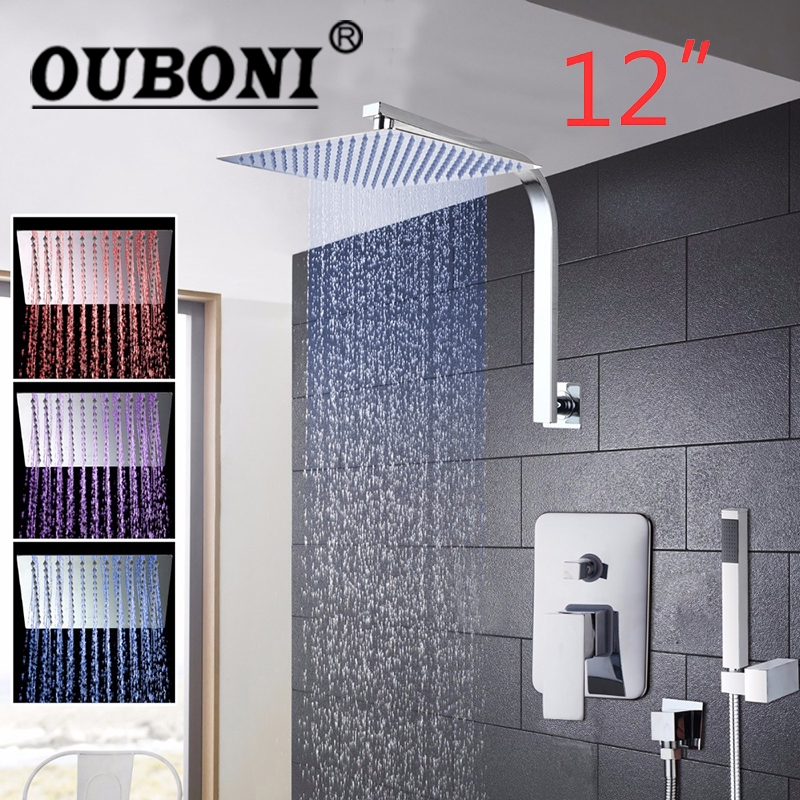 OUBONI 12 Inch LED Rainfall Bathroom Shower Hand Shower Shower Head Wall Mounted Square Style Chrome Brass Waterfall Shower Sets