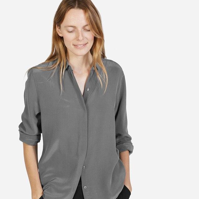 c3eaff2e8e043 France EV 100% silk solid women long sleeve hidden button shirts everlane  ladies literary blouses spring autumn