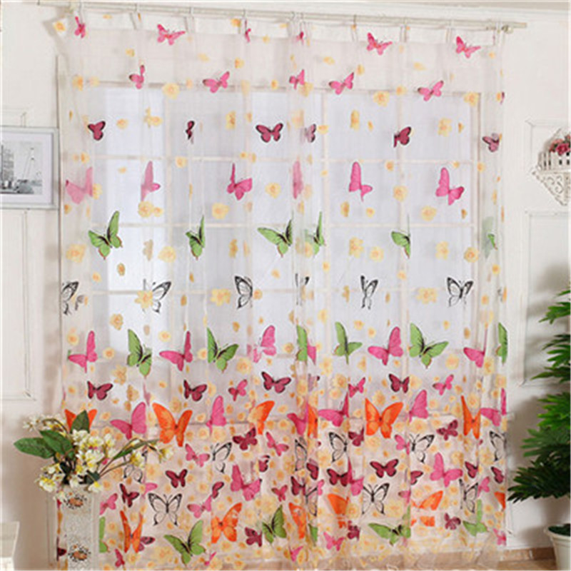 1 pc Butterfly Print Sheer Window Curtains Room Divider New For Living Room Bedroom Girl curtains for the living room yarn