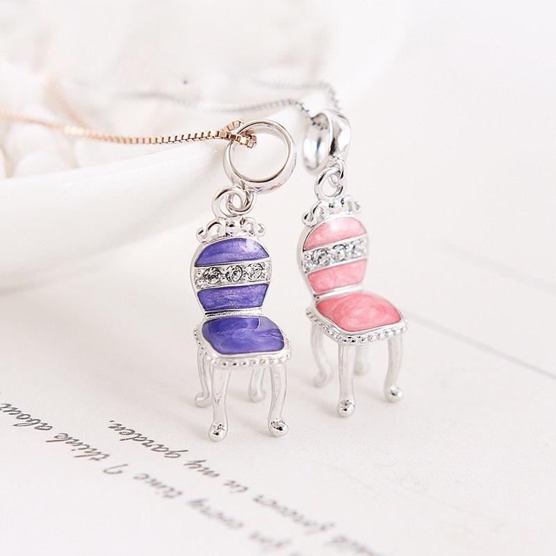 Jewelry & Accessories Pendants Pink/purple Enamel Mini Cz Ladys Chair 925 Silver Pendant