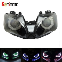 KEMiMOTO Angel Eye HID Projector Motorcycle Headlight Assembly for Kawasaki Ninja 300 ZX-6R 2013-2016 Ninja250 Ninja300 ZX6R