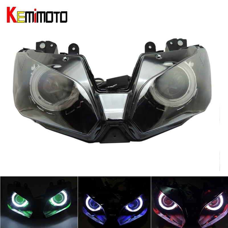 KEMiMOTO Angel Eye HID Projecteur Moto Assemblée Phare pour Kawasaki Ninja 300 ZX6R ZX-6R 2013-2016 Ninja250 Ninja300