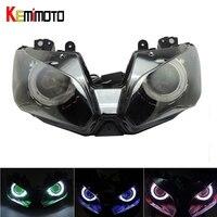Kemimoto Ангел глаз спрятал проектор мотоцикл фар сборки для Kawasaki Ninja 300 ZX 6R 2013 2016 Ninja250 Ninja300 ZX6R